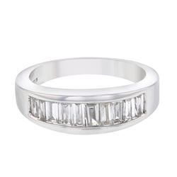 Natural 0.75 CTW Baguette Ring 14K White Gold - REF-141F3M