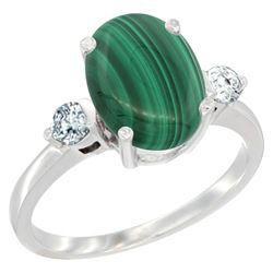 2.95 CTW Malachite & Diamond Ring 14K White Gold - REF-66F8N