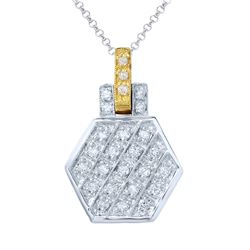 Natural 0.29 CTW Diamond & Pendant 14K Two Tone Yellow Gold - REF-55N8Y