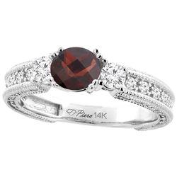 1.56 CTW Garnet & Diamond Ring 14K White Gold - REF-85W5F