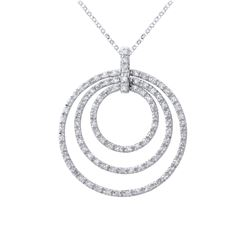 Natural 1.50 CTW Diamond Necklace 14K White Gold - REF-123F3M