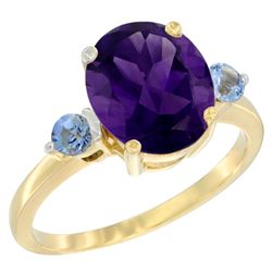 2.64 CTW Amethyst & Blue Sapphire Ring 10K Yellow Gold - REF-24Y5V