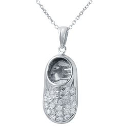 Natural 0.18 CTW Diamond Necklace 14K White Gold - REF-52T2X