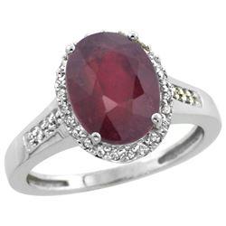 2.60 CTW Ruby & Diamond Ring 14K White Gold - REF-59K2W