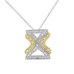 Natural 0.50 CTW Diamond Necklace 18K Two Tone Yellow Gold - REF-75F6M