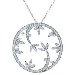 Natural 1.09 CTW Diamond Necklace 14K White Gold - REF-133T2X