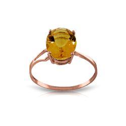 Genuine 2.2 ctw Citrine Ring 14KT Rose Gold - REF-27Y8F