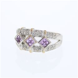 Natural 0.71 CTW Pink Sapphire & Diamond Ring 14K White Gold - REF-69K3R
