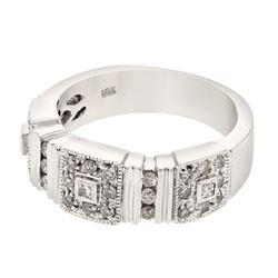 Natural 0.50 CTW Diamond & Princess Diamond Ring 18K White Gold - REF-118W8H