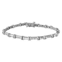 Natural 0.51 CTW Diamond & Bracelet 18K White Gold - REF-172K8R