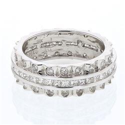 Natural 1.78 CTW Princess Diamond Ring W=7MM 18K Gold - REF-240W3H