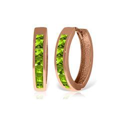 Genuine 1.40 ctw Peridot Earrings 14KT Rose Gold - REF-56M8T