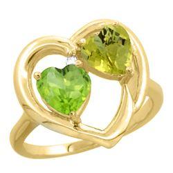 2.61 CTW Diamond, Peridot & Lemon Quartz Ring 14K Yellow Gold - REF-33M5A