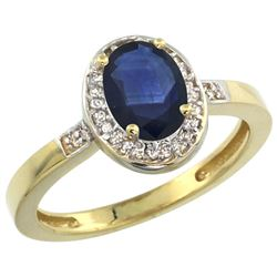 1.15 CTW Blue Sapphire & Diamond Ring 10K Yellow Gold - REF-34Y4V