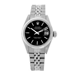 Rolex Pre-owned 26mm Womens Custom Black Dial Stainless Steel