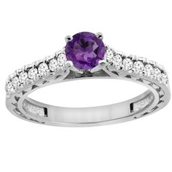0.72 CTW Amethyst & Diamond Ring 14K White Gold - REF-62R3H