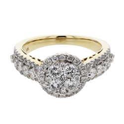 Natural 1.35 CTW Diamond Ring 14K Yellow Gold - REF-154W8H