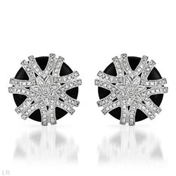 Natural 15.05 CTW Onyx & Diamond Earrings 14K White Gold - REF-114F3M