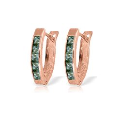Genuine 1.30 ctw Green Sapphire Earrings 14KT Rose Gold - REF-30P9H