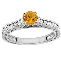 0.72 CTW Citrine & Diamond Ring 14K White Gold - REF-62Y3V
