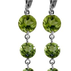 Genuine 7.8 ctw Peridot Earrings 14KT White Gold - REF-46V3W