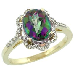 1.94 CTW Mystic Topaz & Diamond Ring 14K Yellow Gold - REF-45M8K