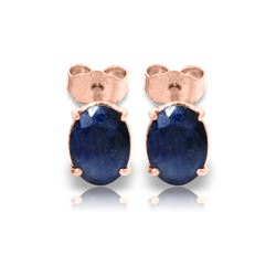 Genuine 2 ctw Sapphire Earrings 14KT Rose Gold - REF-21X9M