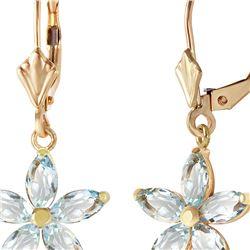 Genuine 2.8 ctw Aquamarine Earrings 14KT Yellow Gold - REF-51W5Y