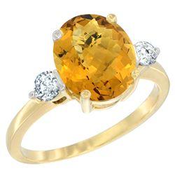 2.60 CTW Quartz & Diamond Ring 10K Yellow Gold - REF-61F4N