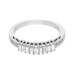 Natural 0.47 CTW Diamond & Baguette Ring 18K White Gold - REF-71K3R
