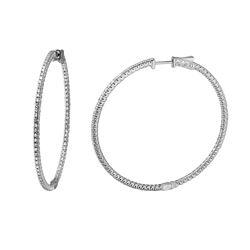 Natural 1.49 CTW Diamond Earrings 14K White Gold - REF-232K2R
