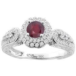 1.10 CTW Ruby & Diamond Ring 14K White Gold - REF-89R2H