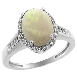 2.60 CTW Opal & Diamond Ring 14K White Gold - REF-54F4N