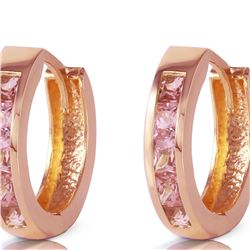Genuine 1.30 ctw Sapphire Earrings 14KT Rose Gold - REF-42P6H
