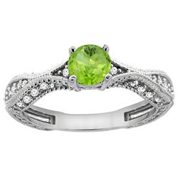 0.70 CTW Peridot & Diamond Ring 14K White Gold - REF-67W7F