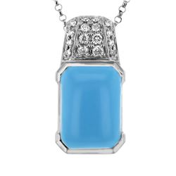 Natural 5.12 CTW Turquoise & Diamond Necklace 14K White Gold - REF-41K4R