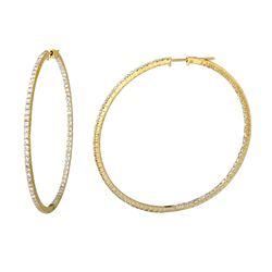 Natural 3.37 CTW Diamond Earrings 14K Yellow Gold - REF-263K7R
