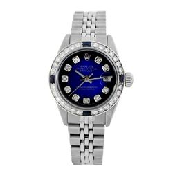 Rolex Pre-owned 26mm Womens Custom Blue Vignette Stainless Steel