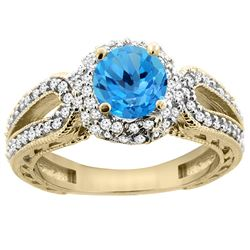 1.50 CTW Swiss Blue Topaz & Diamond Ring 14K Yellow Gold - REF-86A9X