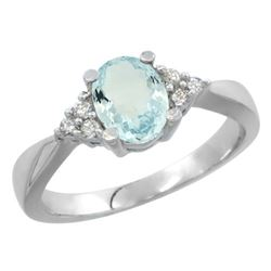 0.77 CTW Aquamarine & Diamond Ring 10K White Gold - REF-30V4R