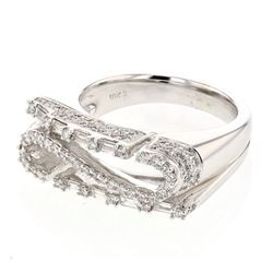 Natural 0.97 CTW Diamond & Baguette Ring 18K White Gold - REF-202T5X