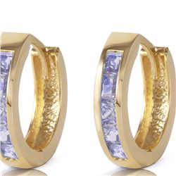 Genuine 0.95 ctw Tanzanite Earrings 14KT Yellow Gold - REF-42A7K