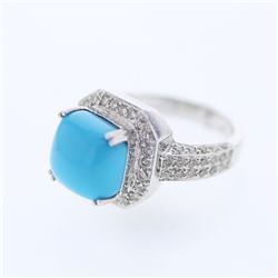 Natural 5.45 CTW Turquoise & Diamond Ring 14K White Gold - REF-133F2M