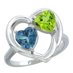2.61 CTW Diamond, London Blue Topaz & Peridot Ring 14K White Gold - REF-34F2N