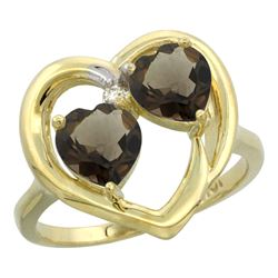 2.60 CTW Quartz & Quartz Ring 10K Yellow Gold - REF-23R7H