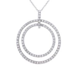 Natural 1.16 CTW Diamond Necklace 18K White Gold - REF-209N7Y