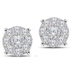 Natural 0.98 CTW Diamond Earrings 14K White Gold - REF-112W5H
