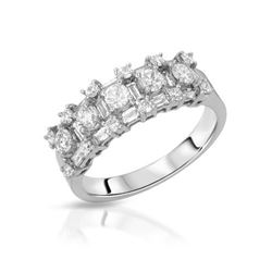 Natural 1.10 CTW Diamond & Baguette Ring 18K White Gold - REF-172N8Y