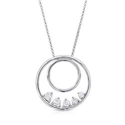Natural 0.76 CTW Diamond Necklace 14K White Gold - REF-126T9X