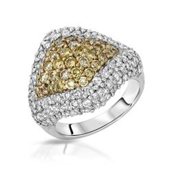 Natural 3.51 CTW Diamond & Yellow Round Diamond Ring 14K Two Tone Gold - REF-343F8M